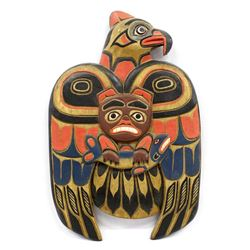 Northwest Coast Carved Wood Eagle Plaque