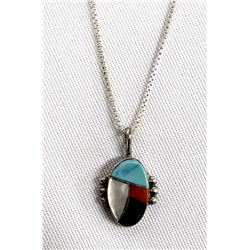 Native American Zuni Sterling Inlay Necklace