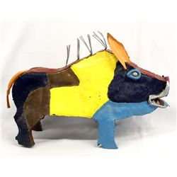 Mexican Metal Art Javelina Hand Painted By Benton
