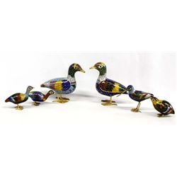 6 Chinese Cloisonne' Birds