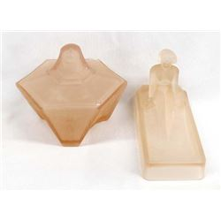 Art Deco Nude Frosted Pink Glass Dresser Set