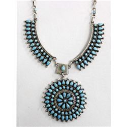 Estate Navajo Sterling Turquoise Necklace, Yazzie