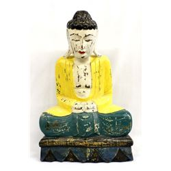 Estate Asian Carved Wood Meditating Buddha