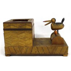 Vintage Carved Wood Bird Cigarette Dispenser