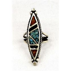 Vintage Navajo Sterling Turquoise Chip Inlay Ring
