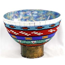 Hand Beaded Wood Bowl with Copper Pedestal Base