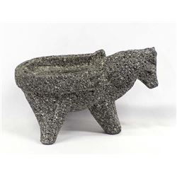 Carved Horse Granite Stone Bowl