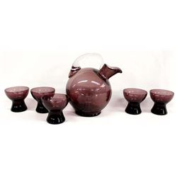 Rare Cambridge Amethyst Tilt Decanter & Cordials
