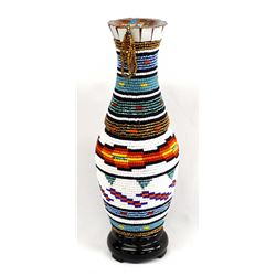 Hand Beaded Composition Vase, Kathy Kills Thunder
