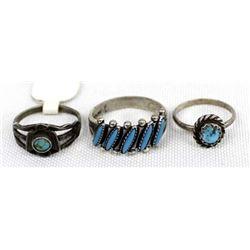 3 Vintage Native American Sterling Silver Rings