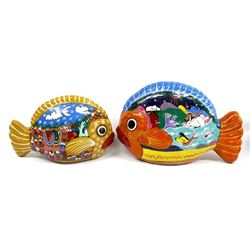 Pr Hand Painted Pottery Fish