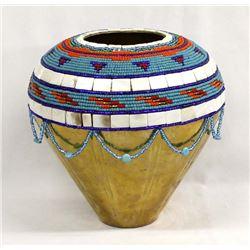 Hand Beaded Brass Vase by Kathy Kills Thunder