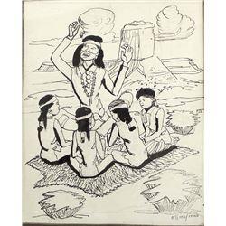 Original Navajo Drawing by Andy Tsinajinnie