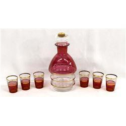Pink Cranberry Flash Gold Gilt Glass Decanter