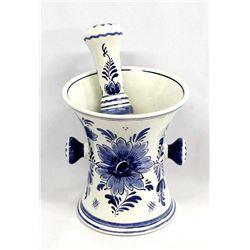 Delfts Blauw Handpainted Ceramic Mortar & Pestle