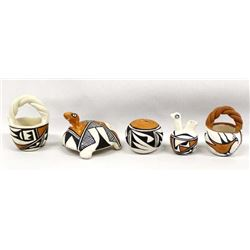 5 Pieces of Acoma Pottery Miniatures by Corpuz
