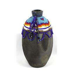 Hand Beaded Pottery Vase by Kathy Kills Thunder