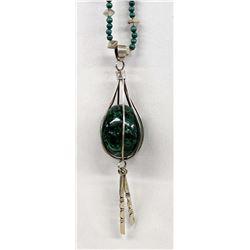 Sterling Malachite Pendant Necklace