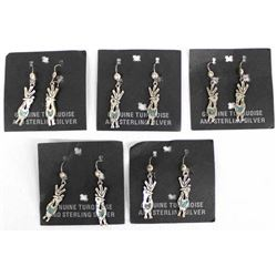 5 Pairs of Sterling Turquoise Roadrunner Earrings