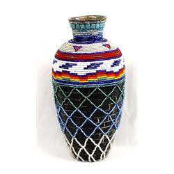 Hand Beaded Composition Vase, Kathy Kills Thunder