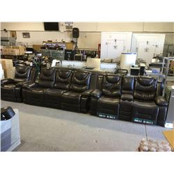 Brown Leather Reclining Sofa, Loveseat, and Sofa Chair Set
