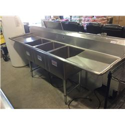 "Stainless Steel 3-Compartment Sink 100"" x 24"" x 36"" H"
