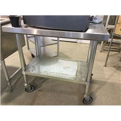 "Stainless Steel Prep Table w/ Wheels 36"" x 24"" x 35"" H"