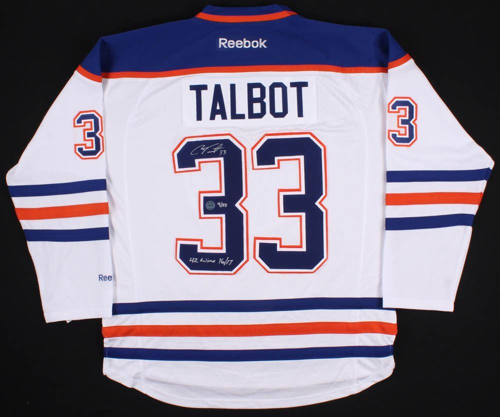 buy popular b2154 ce38e Cam Talbot Signed LE Edmonton Oilers Jersey Inscribed
