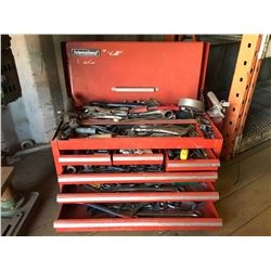 INTERNATIONAL RED TOOL BOX WITH CONTENTS
