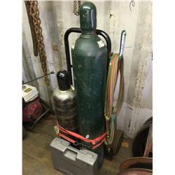 OXY ACETYLENE WELDING TORCH AND TANK SET