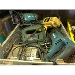 GROUP OF 5 ASSTD POWER TOOLS, MAKITA/BOSCH/POWERFIST