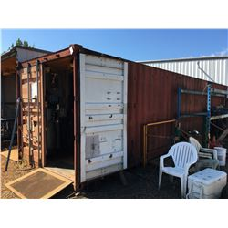 40' C-CAN STORAGE CONTAINER EQUIPPED WITH FLUORESCENT LIGHTING AND ELECTRICAL FUSE BOX