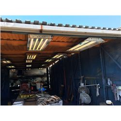 APPROX 30' X 12' FREE STANDING ROOFED STEEL RACKING STORAGE SHED EQUIPPED WITH