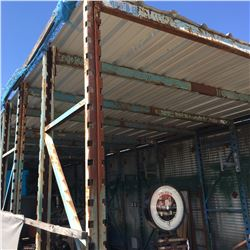 APPROX 35' X 12' FREE STANDING ROOFED STEEL RACKING STORAGE SHED