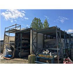 APPROX 30' X 36' 3-BAY FREE STANDING ROOFED STEEL RACKING STORAGE SHED