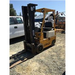 MITSUBISHI PROPANE FORKLIFT MODEL-FGC15 TYPE G, THREE STAGE TRI-MAST WITH 2 PROPANE TANKS (4,996