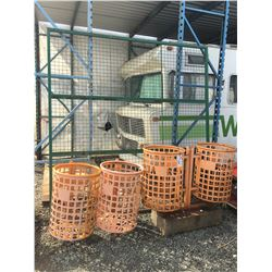 GROUP OF 4 METAL TRASH BINS & STEEL MESH FENCE PANEL (APPROX 9'X9')