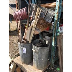 2 TRASH CANS AND CONTENTS, GARDEN TOOLS, AND CASTORS