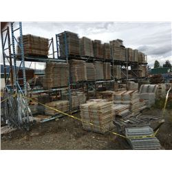 ENORMOUS GROUP OF STEEL MESH DECK AND ENTIRE MASTO PALLET RACKING IT SITS ON (EVERYTHING INSIDE THE