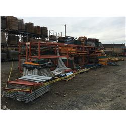 LARGE GROUP OF ASSTD PALLET RACKING, CROSS BARS, ACCESSORIES & HARDWARE, AND THE ORANGE PALLET