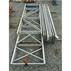 GROUP OF REDI RACK SHELF/PALLET RACKING UPRIGHTS & BEAMS (GREY/GALVANIZED)