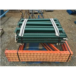 GROUP OF REDI-RACK SHELF/PALLET RACKING UPRIGHTS & BEAMS (ORANGE AND GREEN)