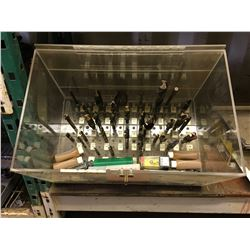 PLEXI-GLASS STORAGE CASE FILLED WITH ASSTD. LARGE DRILL BITS