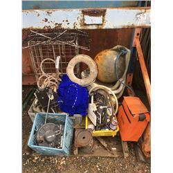 PALLET LOT OF ASSTD. MARINE & BOATING ITEMS, CRAB TRAP, SCOTTY MOUNT, DOWNRIGGER, SURVIVAL KIT ECT.