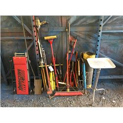 LARGE LOT OF ASSTD HAND TOOLS - PITCH FORKS, BROOMS, AXES, MECHANICS CREEPER, PIPE WRENCH ECT.