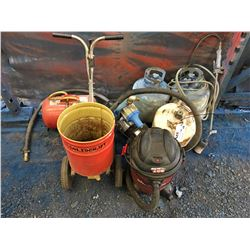 GROUP OF PROPANE BOTTLES, PUMP, AIR STORAGE TANK, SEED SPREADER, SMALL SHOP VAC