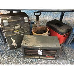 CRAFTSMAN METAL TOOL CHEST, STANLEY FAT MAX TOOL CHEST, BUCKET TOOL BUDDY & RED STORAGE BOX