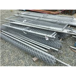LARGE GROUP OF CHAIN LINK FENCING, HARDWARE, POSTS, GATES ECT.