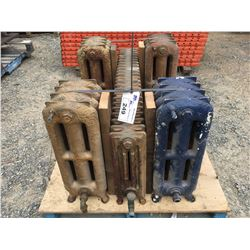 GROUP OF 5 ANTIQUE CAST IRON HOT WATER RADIATORS