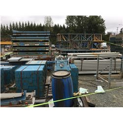 LARGE PILE OF ASSTD PALLET RACKING, UPRIGHTS, BEAMS & OTHER HARDWARE